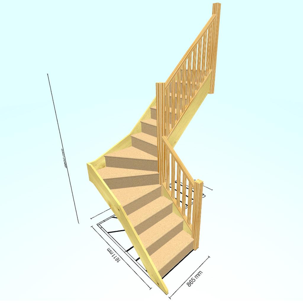 Г-образная с забежными ступенями