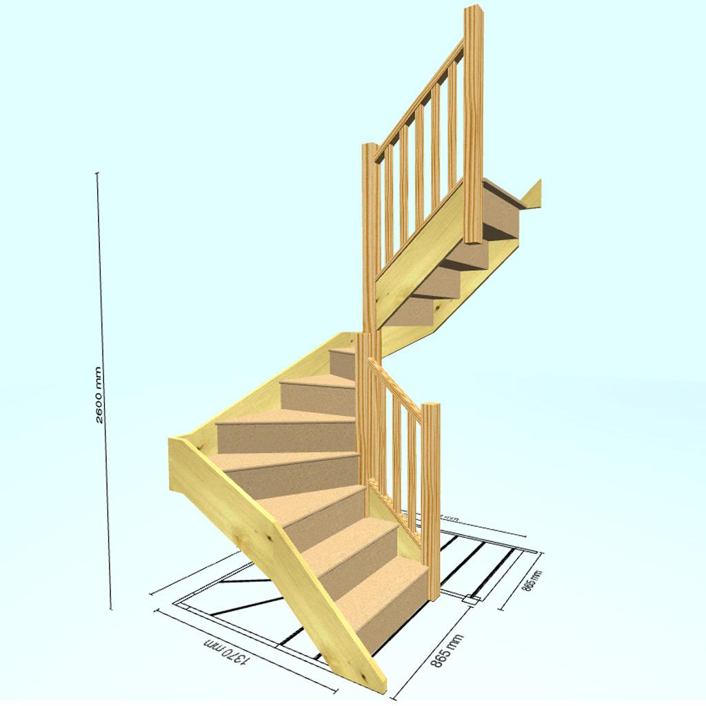 П-образная с забежными ступенями